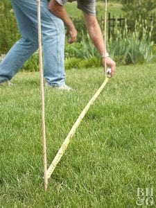 marking out a garden fence